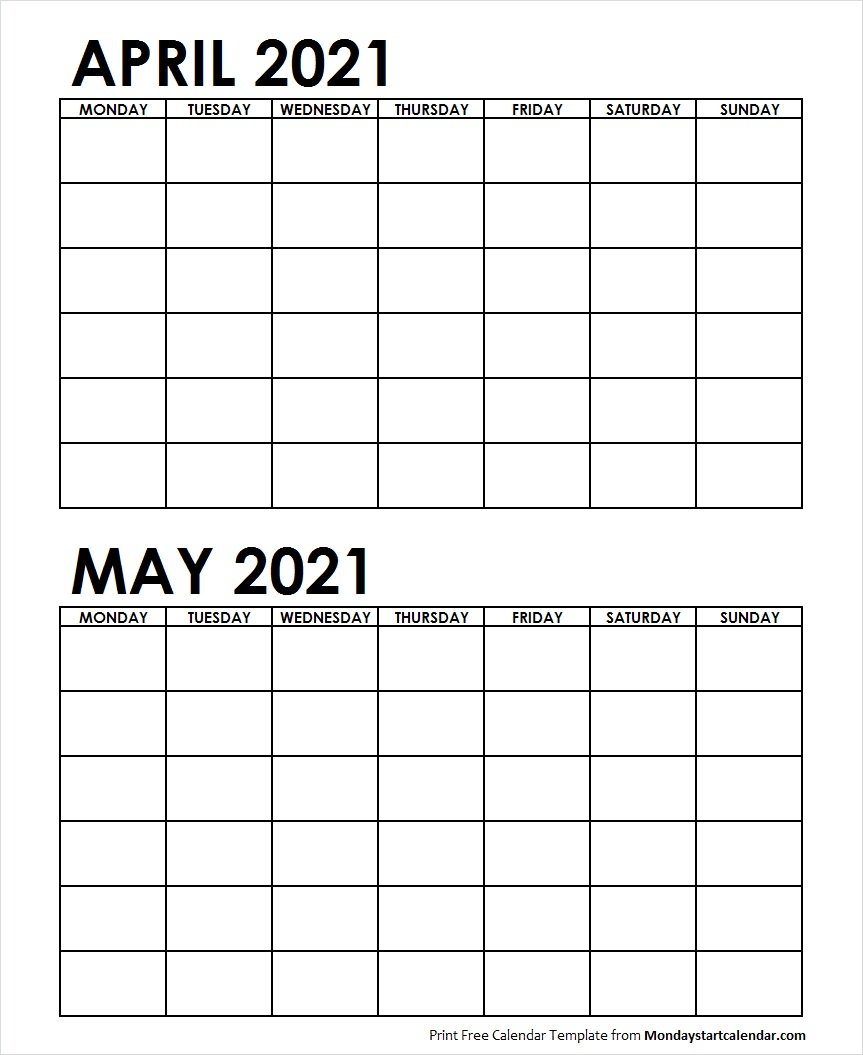 Two Month April May 2021 Calendar Blank | Two Months Template