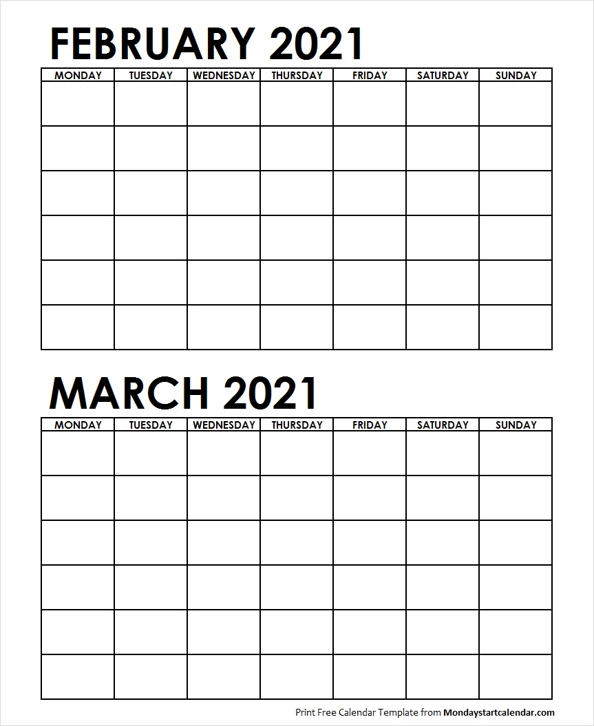 Two Month February March 2021 Calendar Blank | Two Months Template