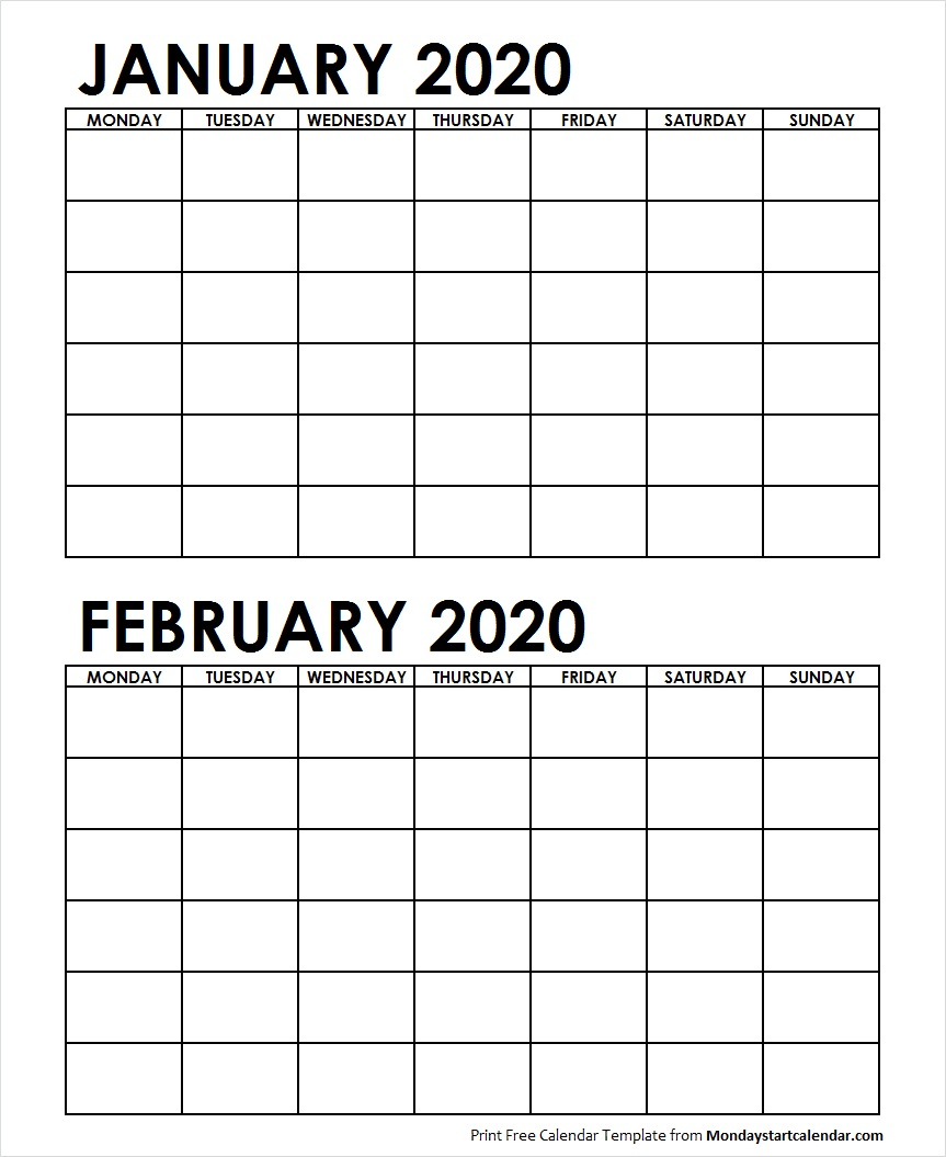 2 Monthly Blank Calendar January February 2020