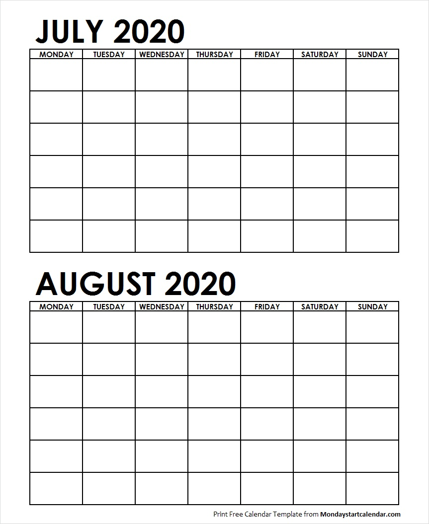 2 Monthly Blank Calendar July August 2020