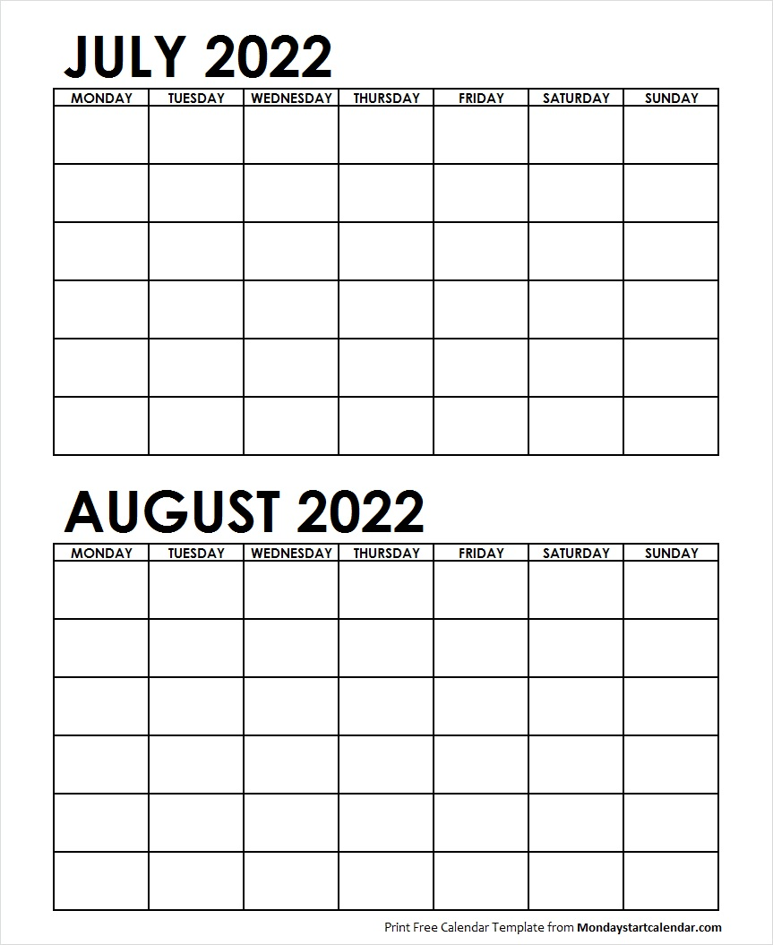 Printable Calendar July August 2022.Two Month July August 2022 Calendar Blank Template