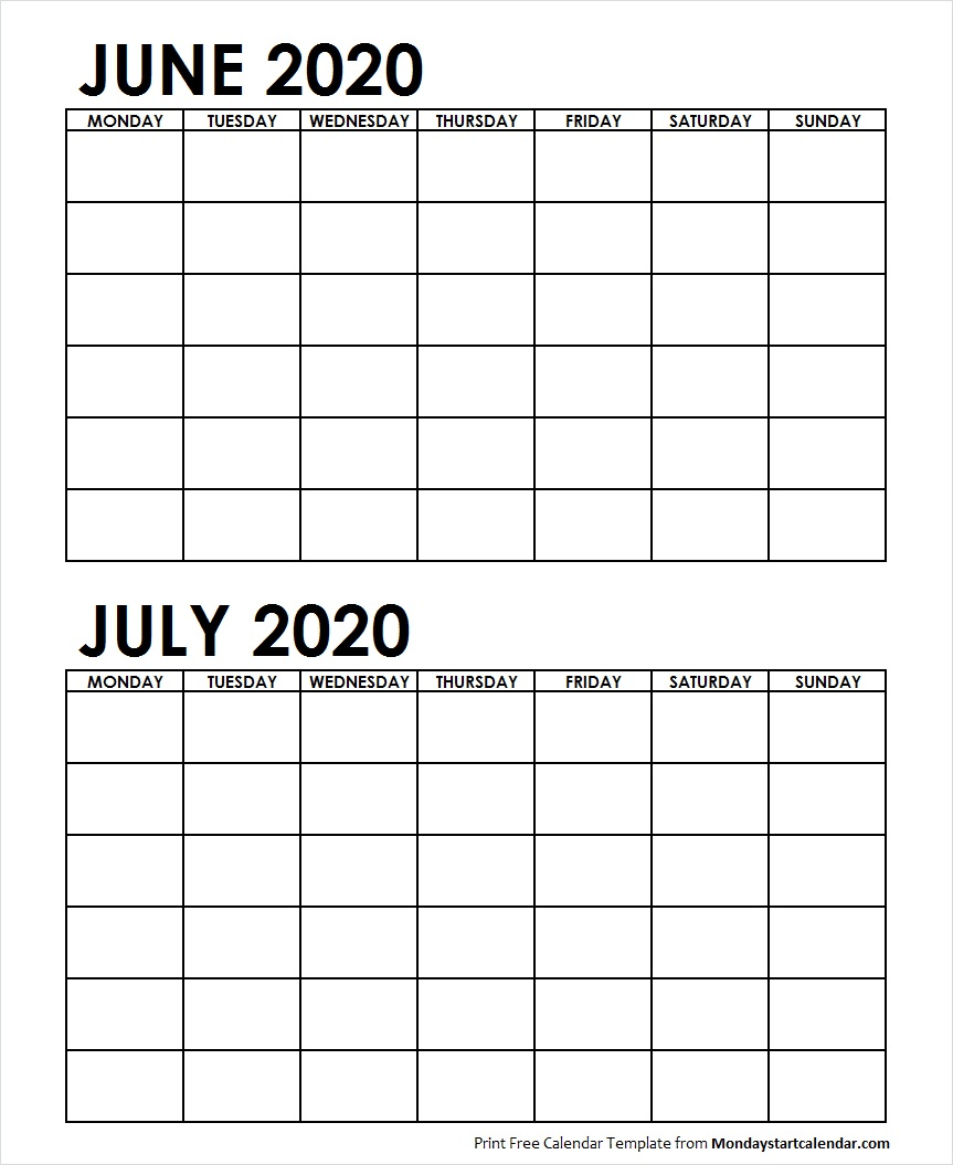 Printable Calendar July 2020.Two Month June July 2020 Calendar Blank Two Months Template