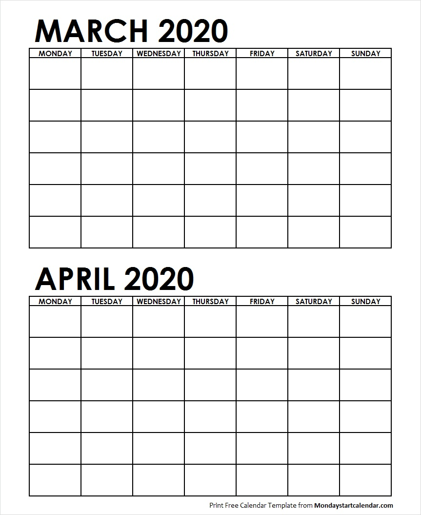 2 Monthly Blank Calendar March April 2020