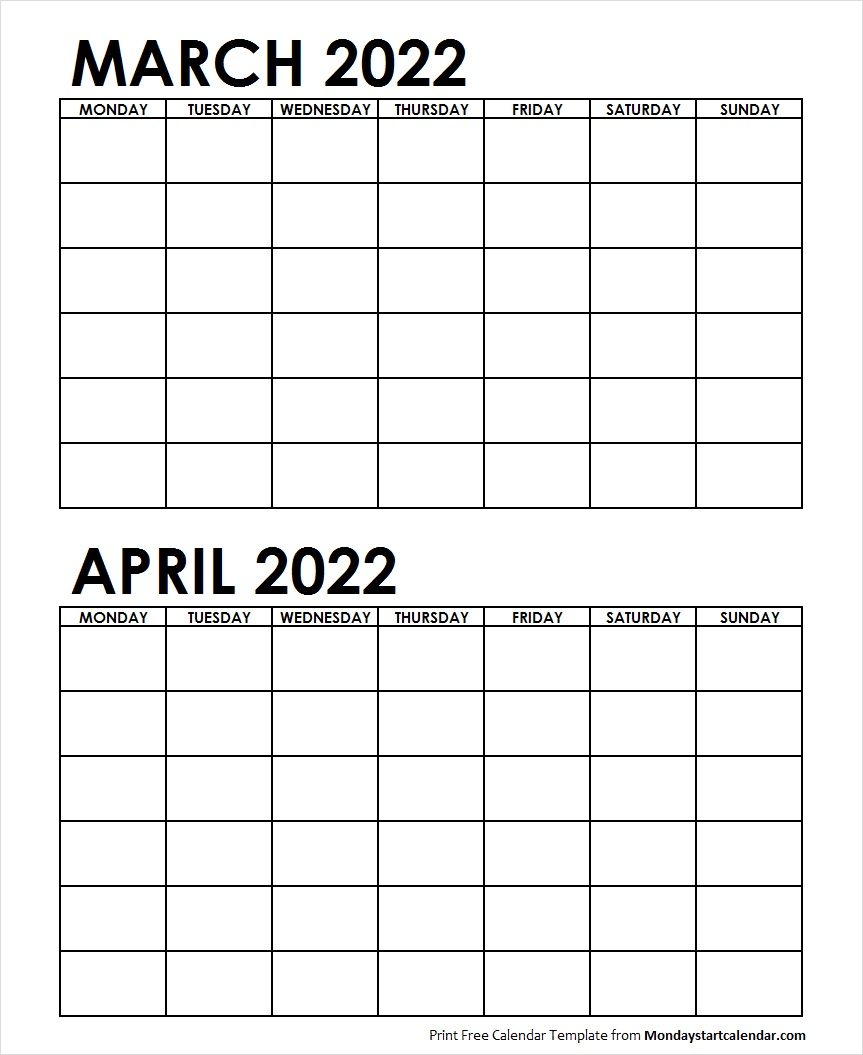 2 Monthly Blank Calendar March April 2022