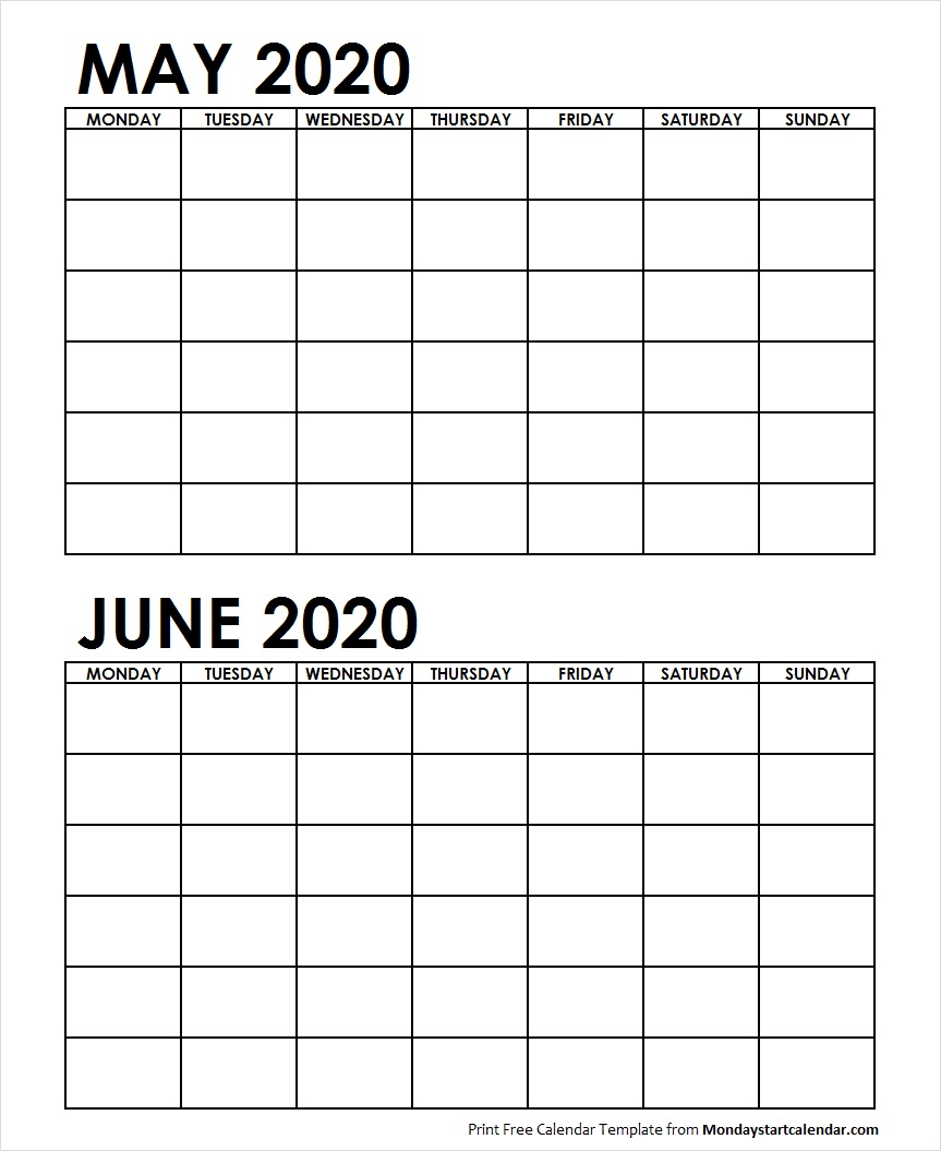 2 Monthly Blank Calendar May June 2020