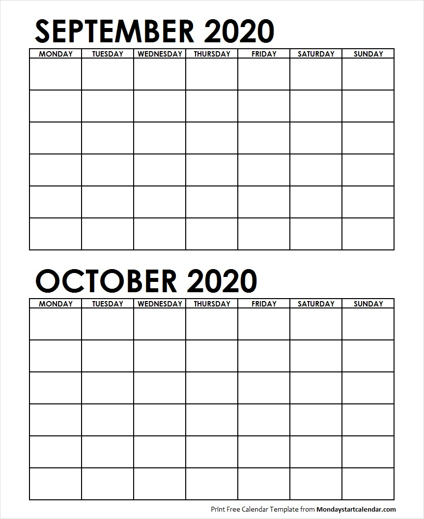 Two Month September October 2020 Calendar Blank