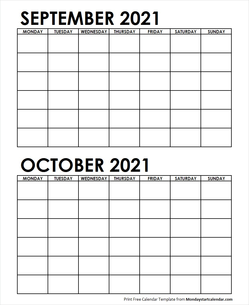 September And October 2021 Calendar Two Month September October 2021 Calendar Blank Archives   Monday