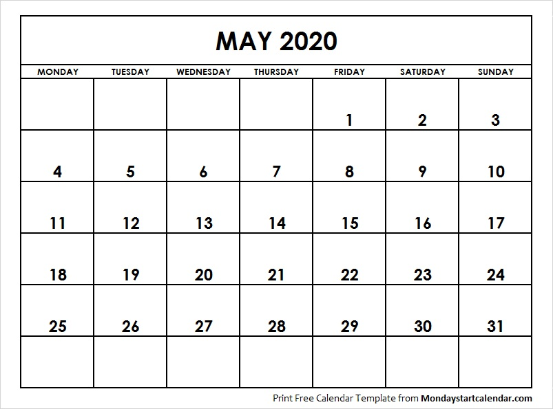 2020 Calendar May Month