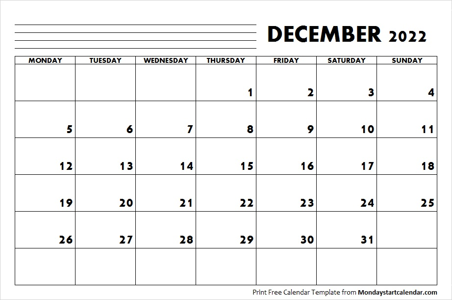 December Calendar For 2022.2022 December Calendar December Month Template