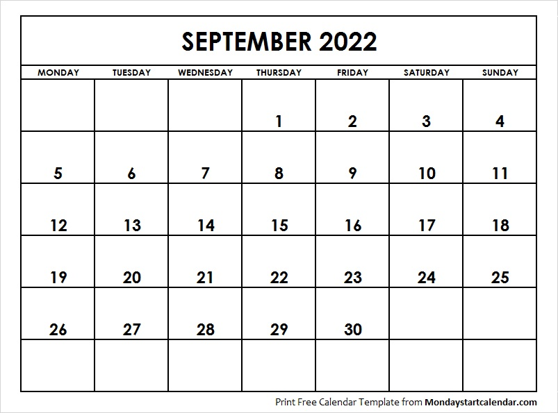 Calendar 2022 September.2022 September Calendar September Month Template
