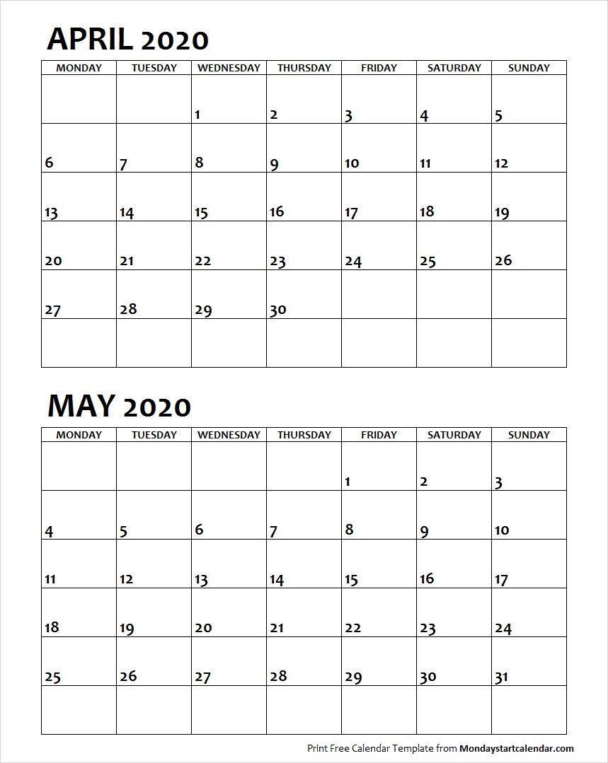 Apr May 2020 Calendar Monday Start