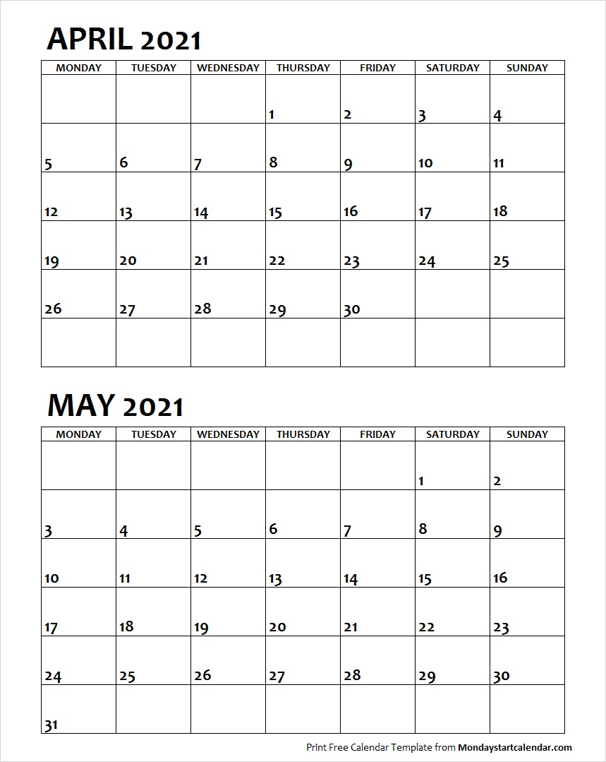Blank April May 2021 Printable Calendar Archives   Monday Start