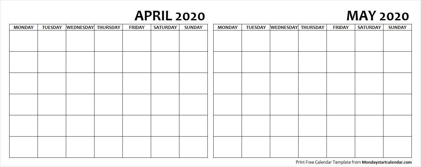 Blank April May 2020 Calendar Monday Start Two Months Template