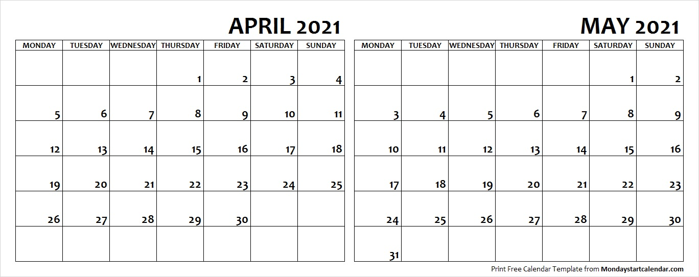 April May 2021 Calendar Monday Start | Editable Two Months Template