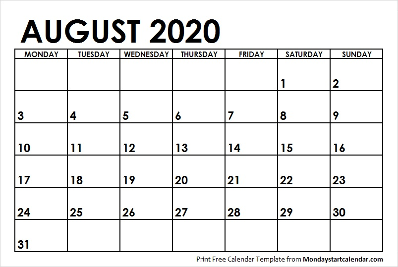 August Calendar 2020 with Notes