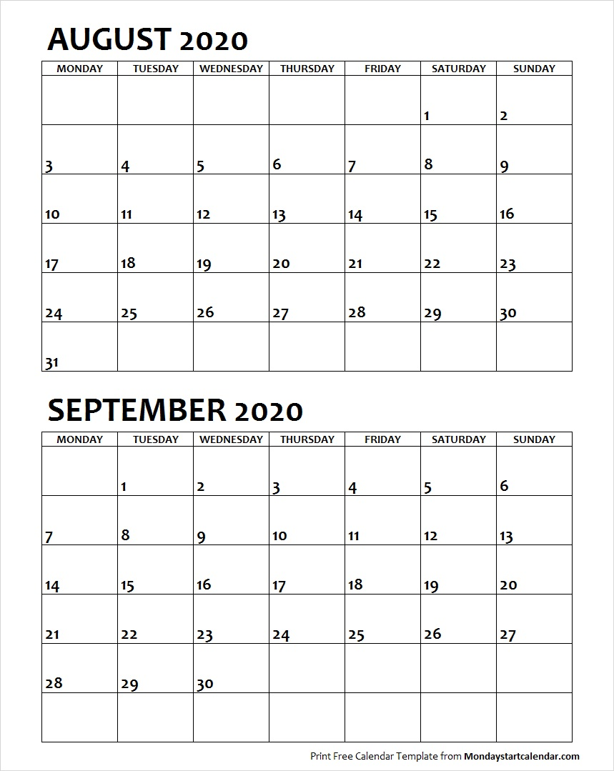 August and September 2020 Calendar Starting Monday