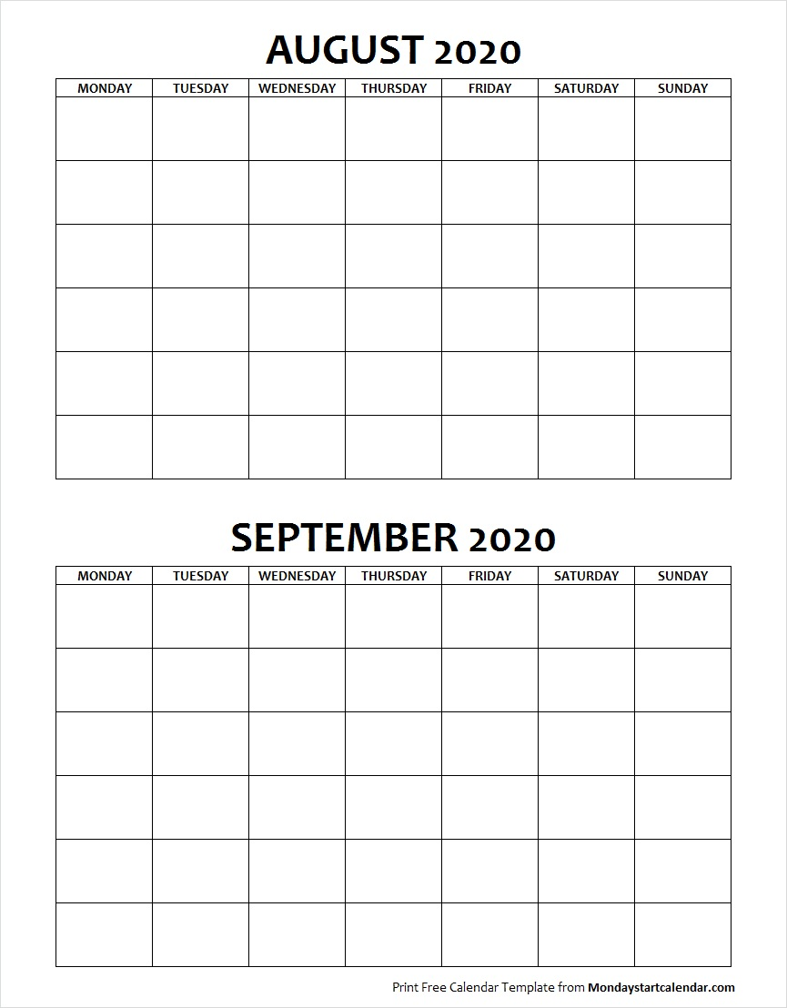 Blank Calendar August and September 2020 Monday to Sunday
