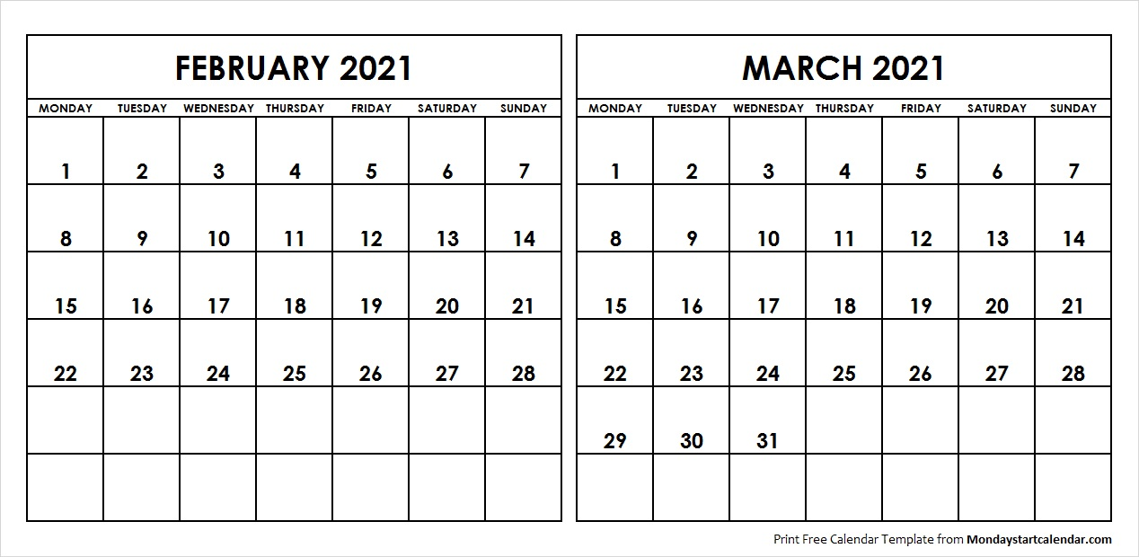 February and March 2021 Calendar Starting Monday Archives   Monday