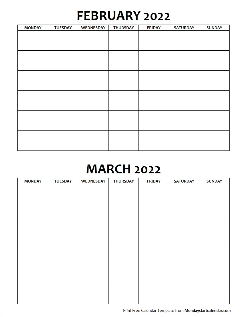 Blank Calendar February and March 2022 Monday to Sunday