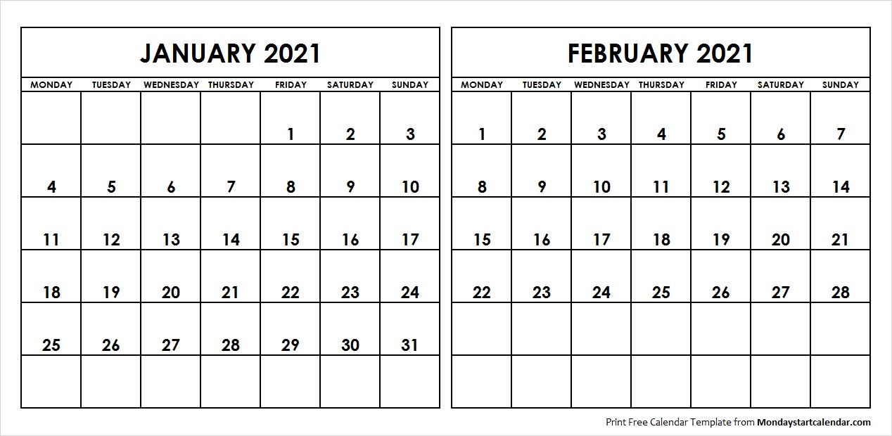 January And February 2021 Calendar January and February 2021 Calendar Starting Monday Archives