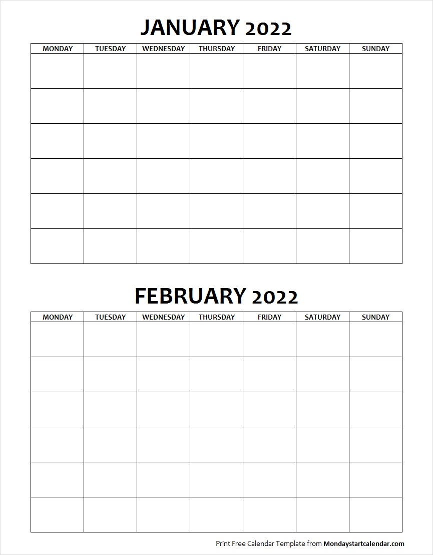 Blank Calendar January and February 2022 Monday to Sunday