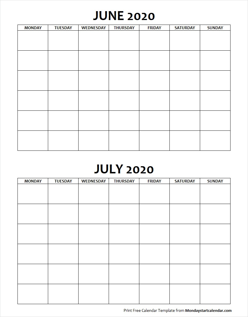 Blank Calendar June and July 2020 Monday to Sunday