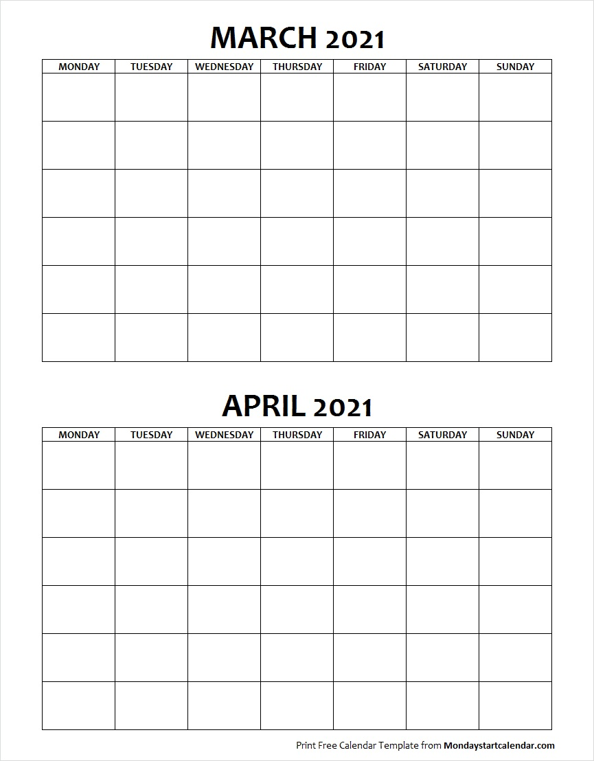 Blank Calendar March and April 2021 Monday to Sunday