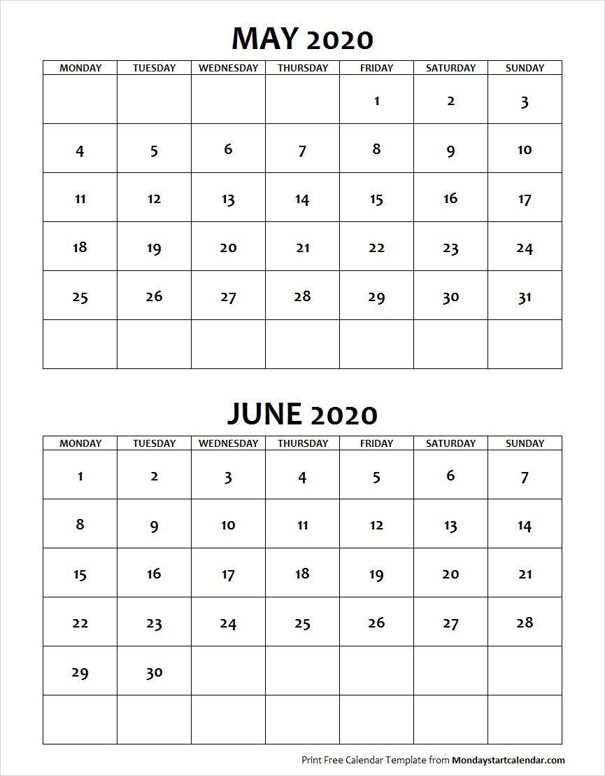 Blank Calendar May June 2020 Monday Start