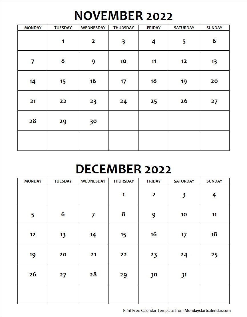 Calendar November December 2022.November December 2022 Calendar Monday Start Two Months Template