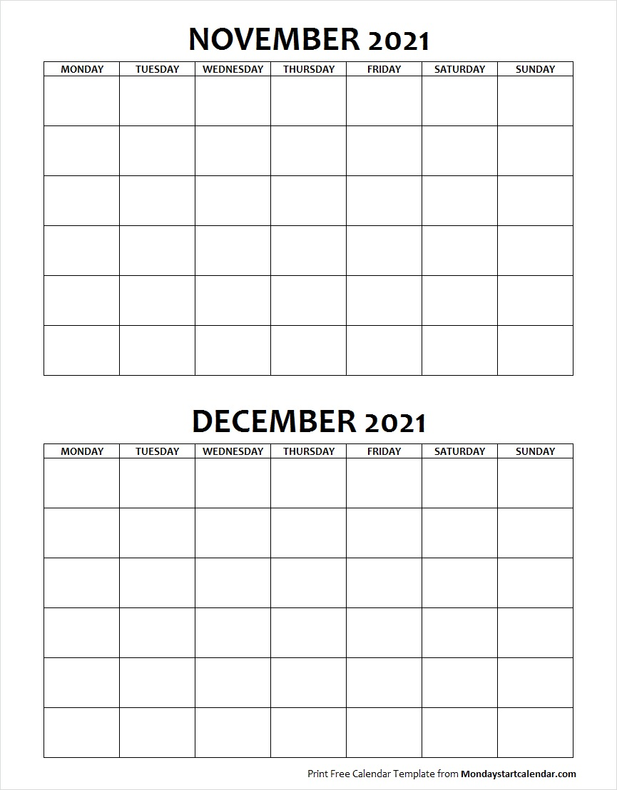Blank Calendar November and December 2021 Monday to Sunday