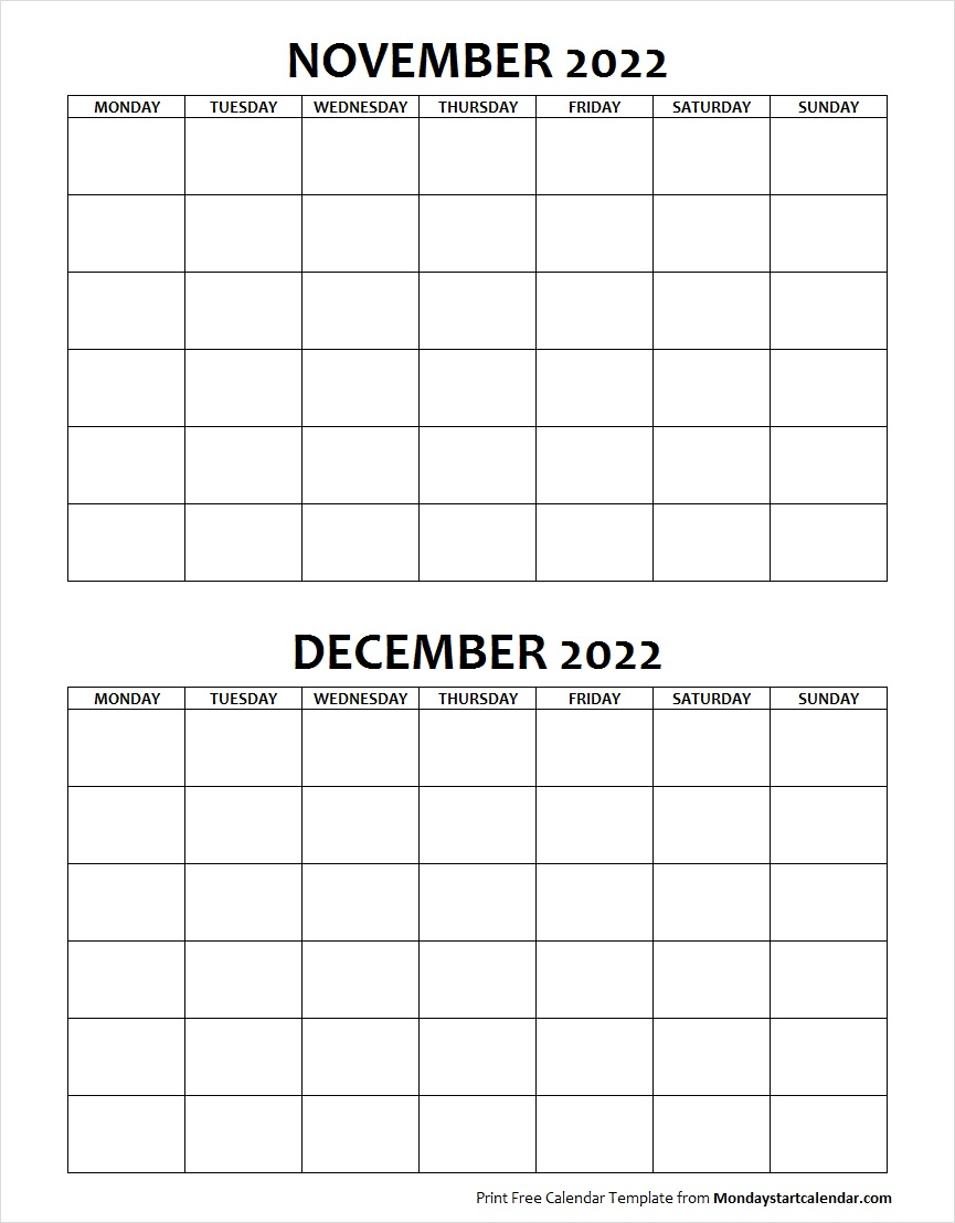 Blank Calendar November and December 2022 Monday to Sunday