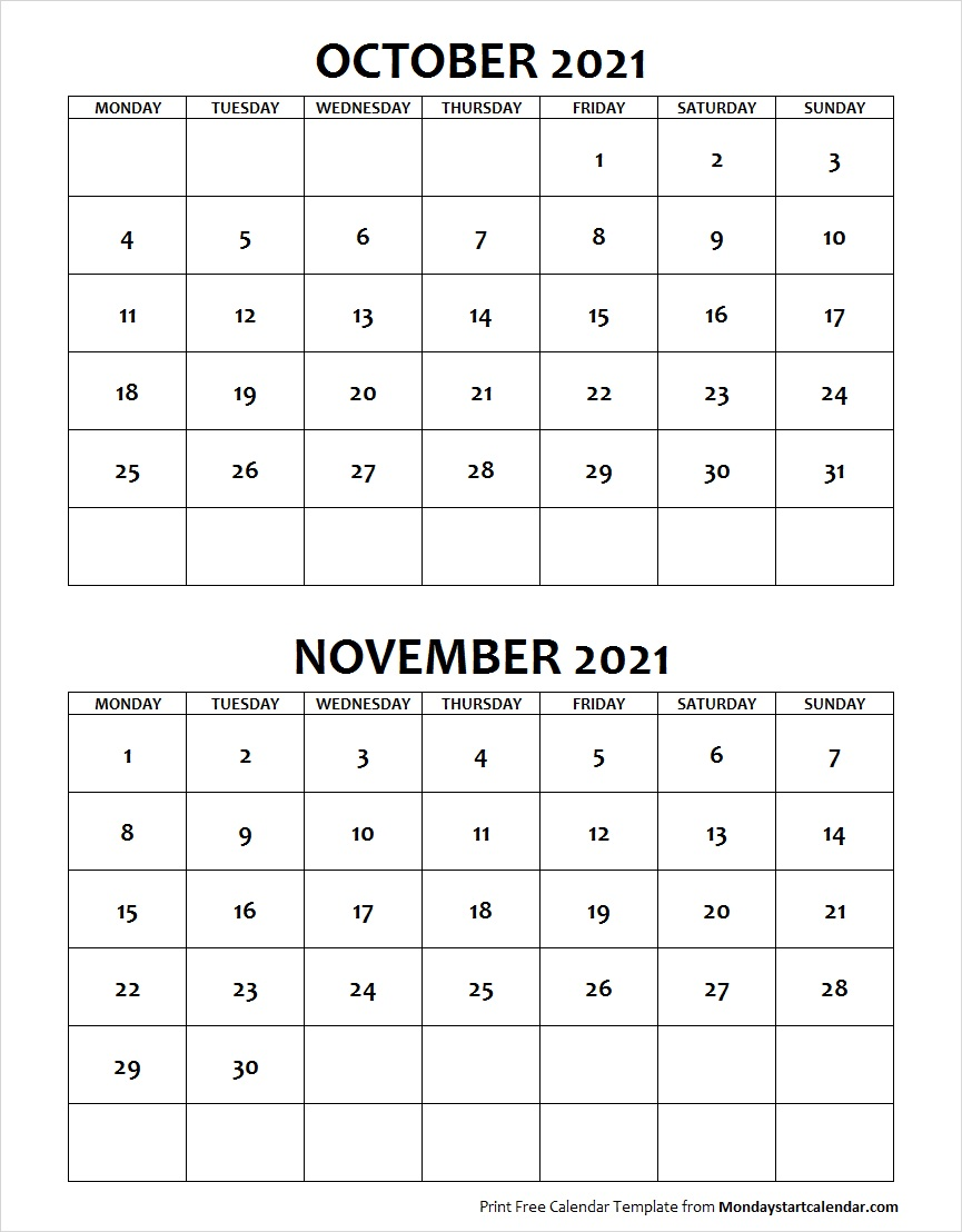 Calendar October And November 2021 October November 2021 Calendar Monday Start | Two Months Template