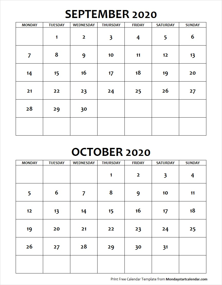 Blank Calendar September October 2020 Monday Start