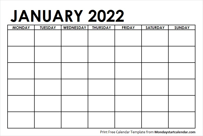 Blank January 2022 Monday Start Calendar with Notes