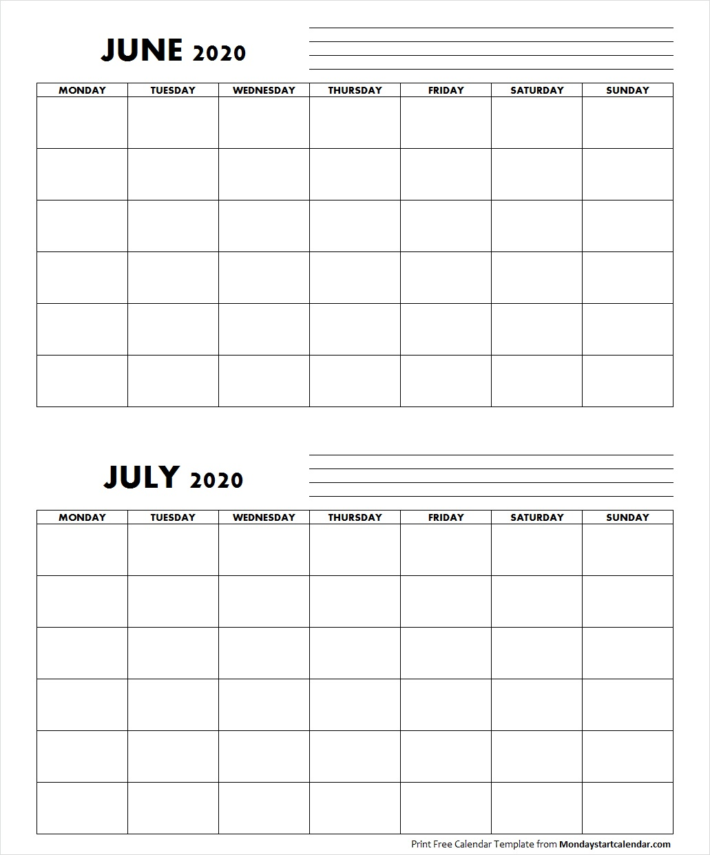 Blank June July 2020 Calendar Monday Start Template