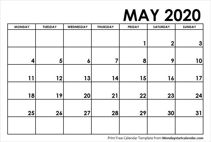 Blank May Calendar 2020 Starting Monday