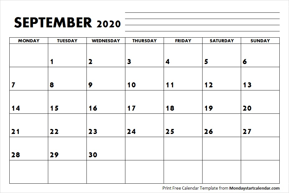 Blank September Calendar 2020 Starting Monday