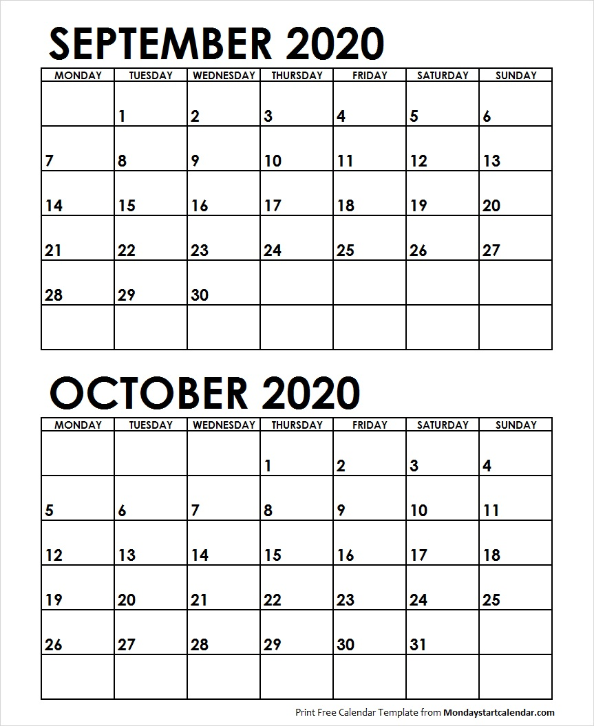 Blank September October 2020 Printable Calendar