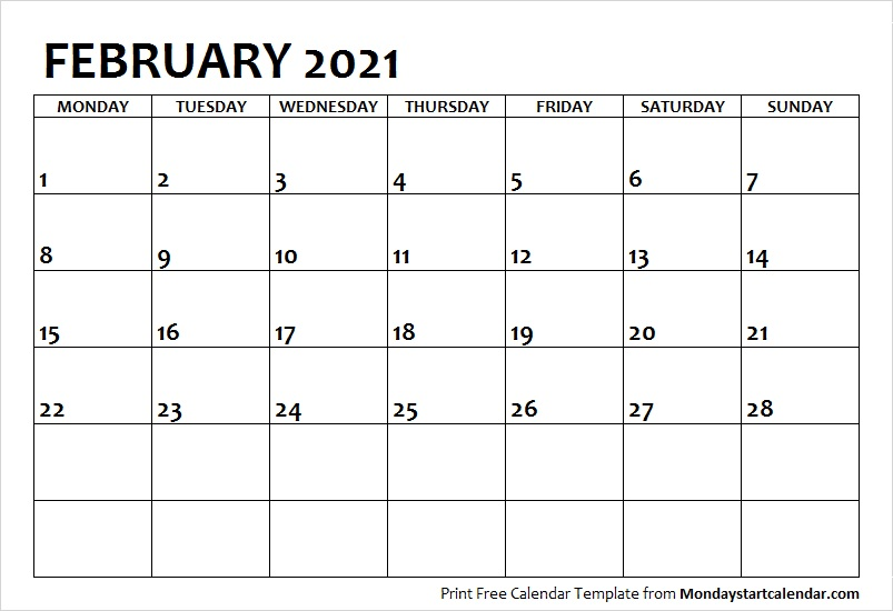 February 2021 Calendar Monday Start February Month Template