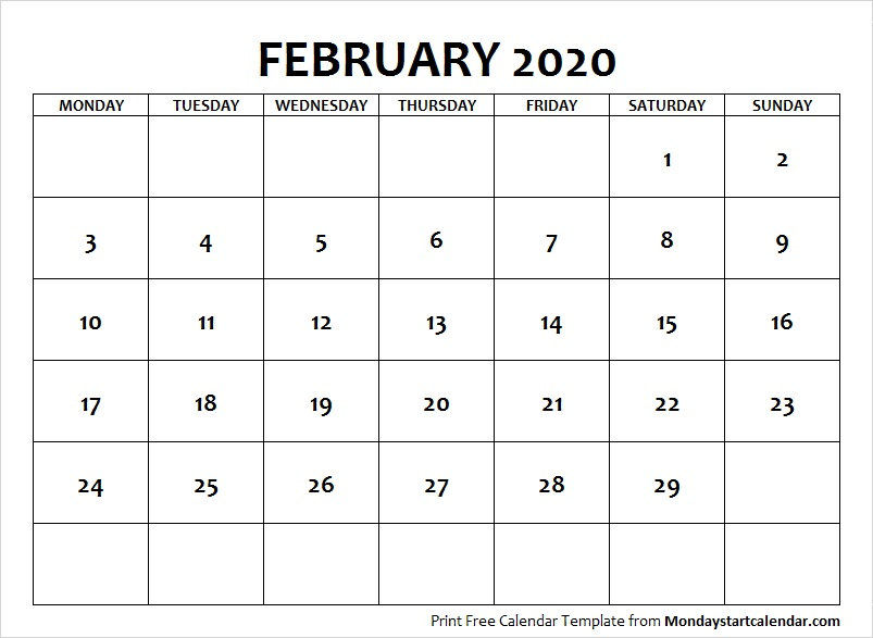 February Calendar 2020 with Notes