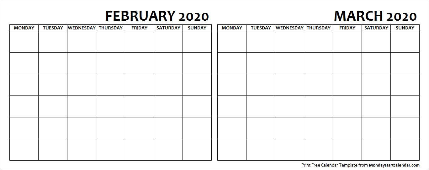 February and March 2020 Calendar Blank Printable