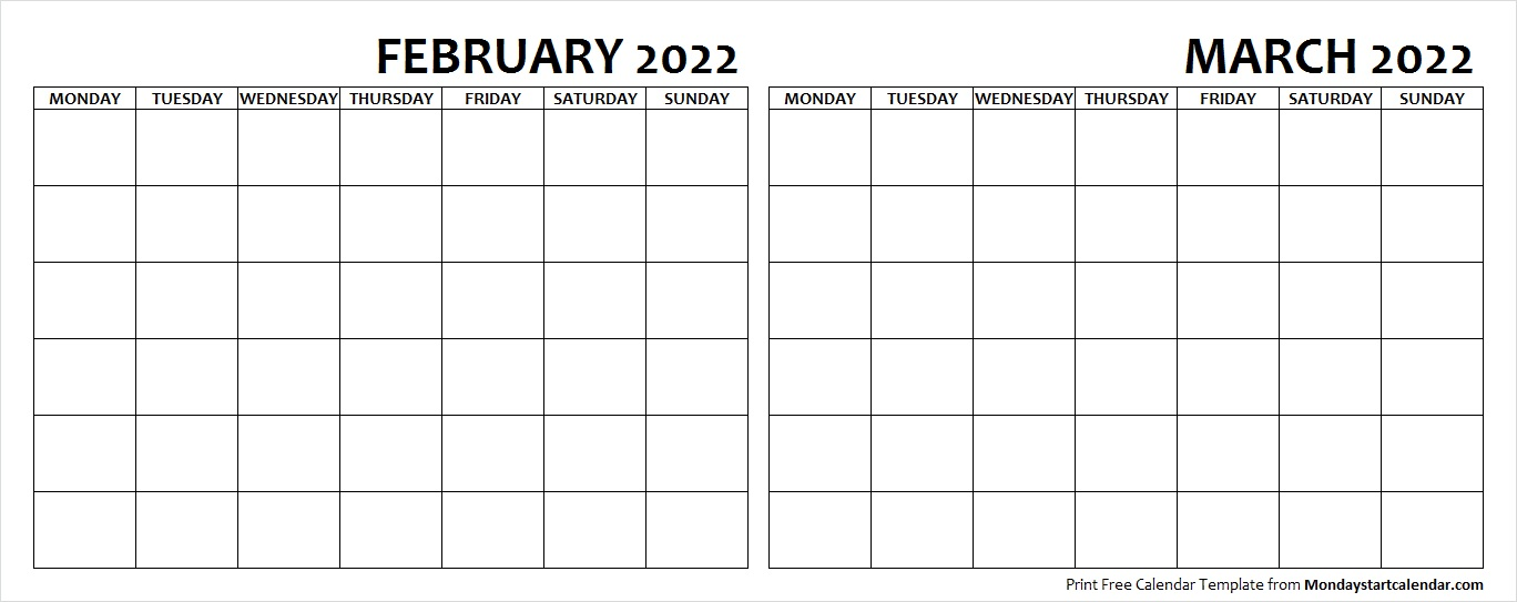 February and March 2022 Calendar Blank Printable