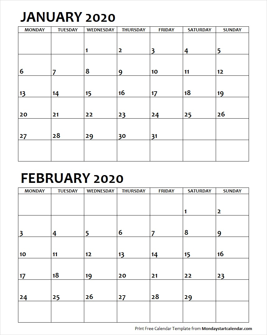 January and February 2020 Calendar Starting Monday