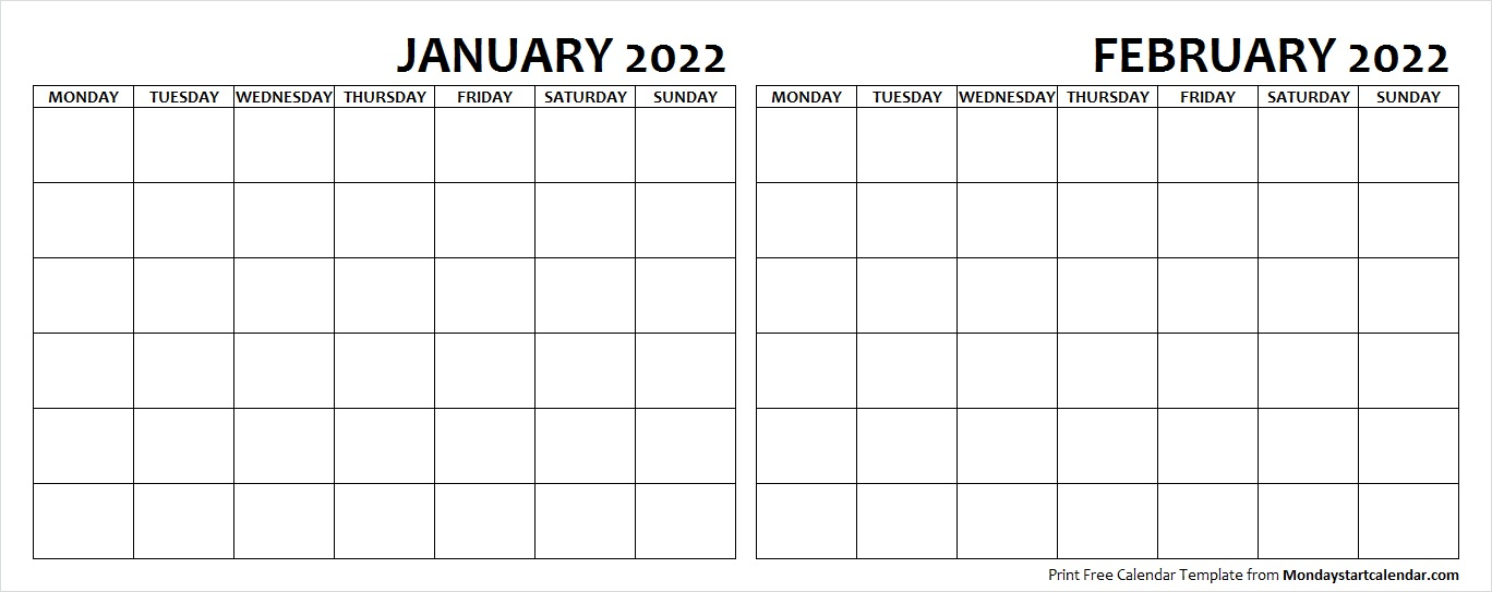 January and February 2022 Calendar Blank Printable