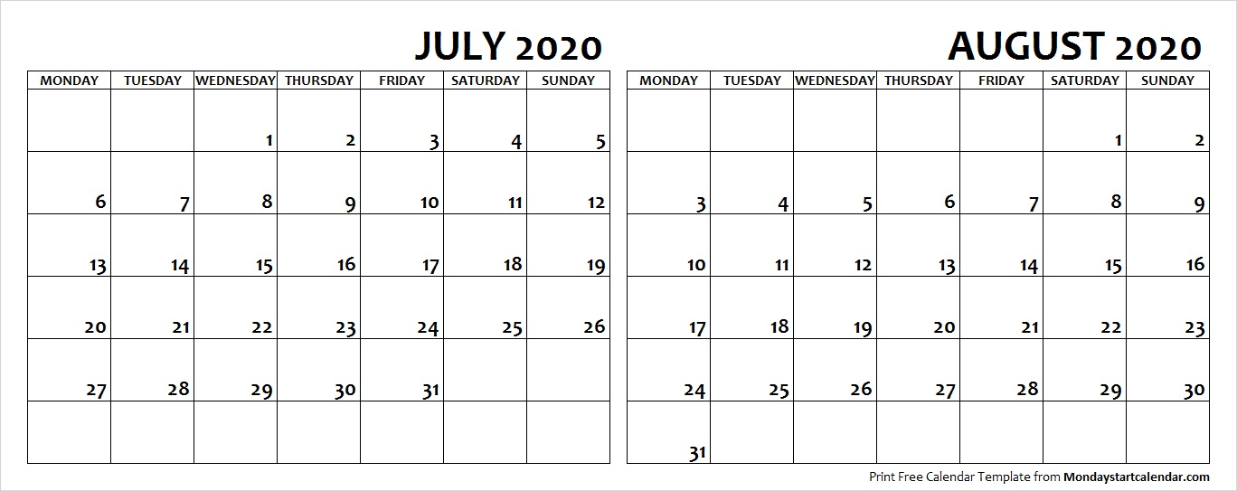 Jul Aug 2020 Calendar Monday Start