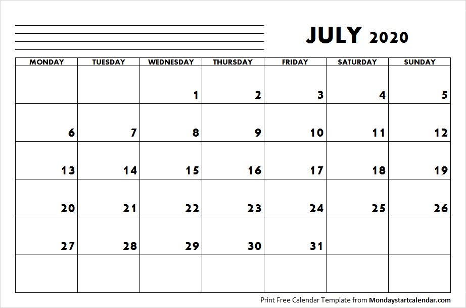 July 2020 Calendar Starting Monday