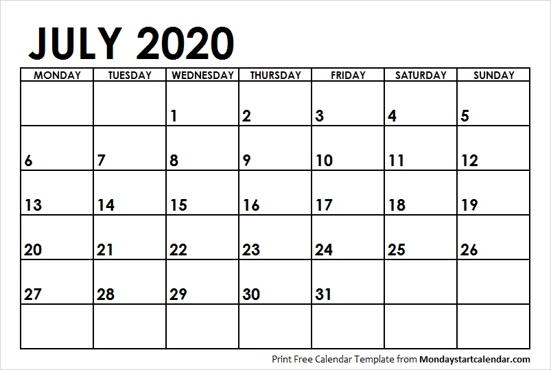 July Calendar 2020 with Notes