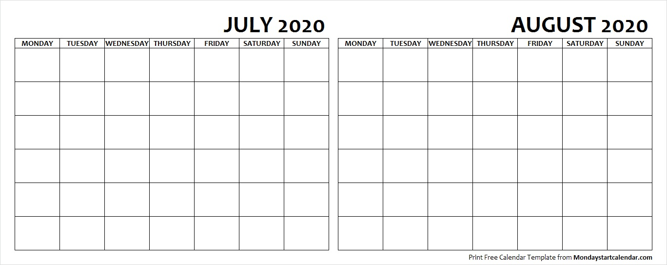 July and August 2020 Calendar Blank Printable