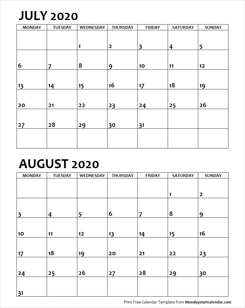 July and August 2020 Calendar Starting Monday