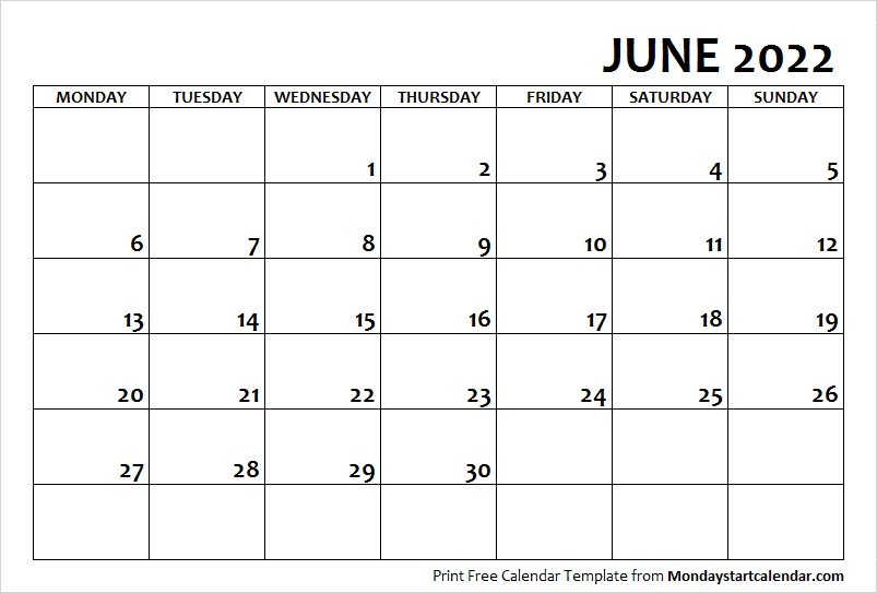 photo relating to 2022 Calendar Printable identify June 2022 Calendar Monday Get started June Thirty day period Template